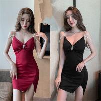 Dress Spring 2021 Red, black S,M,L Short skirt singleton  Sleeveless commute V-neck High waist One pace skirt camisole Panel, zipper