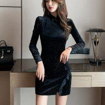Dress Summer 2020 black S,M,L Short skirt singleton  Long sleeves commute stand collar zipper Korean version