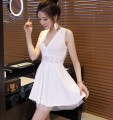 Dress Summer of 2018 White, black S,M,L,XL Short skirt singleton  commute V-neck middle-waisted Solid color Socket Princess Dress 25-29 years old Type A Korean version Hollow, open back, stitching, gauze, lace