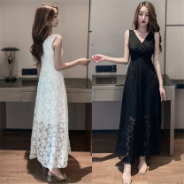 Dress / evening wear Wedding, adulthood, party, company annual meeting, performance, routine, appointment S,M,L White, black Simplicity longuette High waist Summer 2020 A-line skirt Deep collar V Lace 18-25 years old Sleeveless