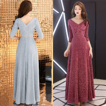 Dress / evening wear wedding S,M,L Silver with belt, red with belt, bean paste powder with belt grace longuette middle-waisted Spring 2021 Fall to the ground Deep collar V Tencel three quarter sleeve routine