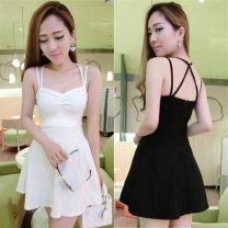 Dress Summer 2020 White, red, black S,M,L Short skirt singleton  Sleeveless Solid color Princess Dress camisole