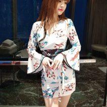 Dress Autumn 2020 White, black S,M,L singleton  Long sleeves commute V-neck Decor pagoda sleeve