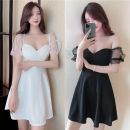 Dress Summer 2021 White, black S,M,L Short skirt Sleeveless commute V-neck High waist Socket Big swing Type A