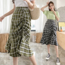 skirt Summer 2021 S. M, l, XL, 500 pieces wholesale price Green, black Mid length dress Versatile High waist Irregular lattice Type A 25-29 years old 30% and below