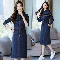 Dress Spring 2021 blue S. M, l, XL, 2XL, 500 pieces wholesale price longuette singleton  Long sleeves commute Polo collar High waist Solid color Single breasted A-line skirt routine Others 30-34 years old Other / other Korean version pocket 31% (inclusive) - 50% (inclusive) Denim