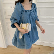 Dress Summer 2020 Long sleeve spring and autumn, short sleeve summer S,M,L,XL Short skirt singleton  three quarter sleeve commute square neck Loose waist Solid color Socket Big swing puff sleeve Others 18-24 years old Type A Simplicity Denim cotton