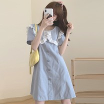 Women's large Summer 2021 Blue, yellow S,M,L. singleton  commute moderate Short sleeve Solid color Retro other other Three dimensional cutting Other / other 18-24 years old Lace stitching 81% (inclusive) - 90% (inclusive) Short skirt