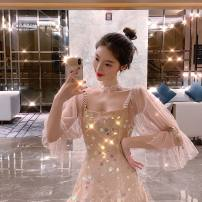 Dress Summer of 2019 Picture color S,M,L,XL singleton  Sweet middle-waisted Socket puff sleeve Others Other / other 51% (inclusive) - 70% (inclusive) Lace Mori