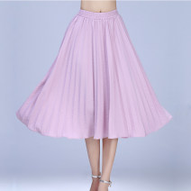 skirt Spring 2021 S,M,L,XL Pink, green longuette Versatile Natural waist A-line skirt Solid color Type A 25-29 years old 51% (inclusive) - 70% (inclusive) other Cellulose acetate