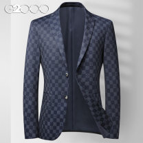 man 's suit Dark blue G2000 Fashion City thin 170/M,175/L,180/XL,185/2XL,190/3XL,195/4XL Self cultivation Double breasted Other leisure No slits youth Long sleeves spring routine Business Casual Casual clothes Flat lapel Round hem lattice Regular collar (collar width 7-9cm) Three dimensional bag
