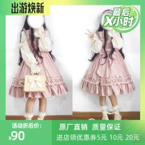 Dress Fall 2017 S size, M size, L size, children's clothing recommended height 90-100, children's clothing recommended height 110-120, children's clothing recommended height 120-130, children's clothing recommended height 130-140 Short skirt Two piece set Long sleeves Sweet stand collar Socket Others