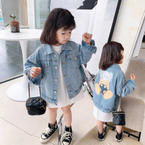 Plain coat Little red fish female 90cm,100cm,110cm,120cm,130cm,140cm blue spring and autumn Korean version Single breasted There are models in the real shooting routine nothing Cartoon animation Denim Lapel