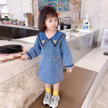 Dress blue female Little red fish 100cm,110cm,120cm,130cm,140cm Other 100% spring and autumn Korean version Long sleeves other Cotton denim A-line skirt Three, four, five, six, seven, eight, nine