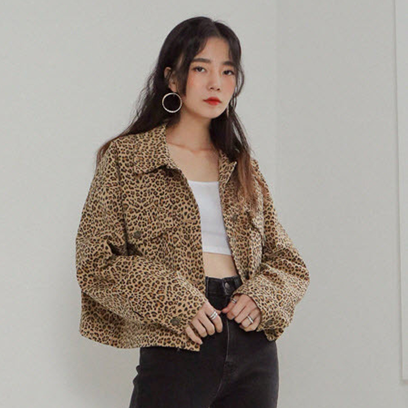 short coat Autumn of 2018 Average size Leopard Print Long sleeves have cash less than that is registered in the accounts routine singleton  Straight cylinder commute routine Leopard Print 18-24 years old Other / other Pocket button