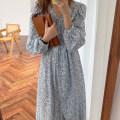 Dress Spring 2021 Light blue, dark blue Average size Mid length dress singleton  Long sleeves commute V-neck Decor Single breasted 18-24 years old Korean version