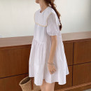 Dress Summer 2021 White, Retro Blue Average size Middle-skirt singleton  Long sleeves commute Admiral Elastic waist Solid color Socket Big swing routine Others 18-24 years old Type A Other / other Korean version Splicing 51% (inclusive) - 70% (inclusive) cotton
