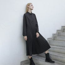 Dress Autumn of 2019 S,M,L longuette singleton  Long sleeves commute stand collar Loose waist Solid color Socket Pleated skirt routine Others 25-29 years old Type H Flowers, trees and fruits Simplicity Pleats, buttons 51% (inclusive) - 70% (inclusive) other nylon