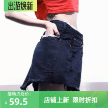 skirt Summer of 2019 XS,S,M black Short skirt commute High waist A-line skirt Solid color Type A 18-24 years old Denim cotton pocket