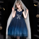 Dress Spring 2021 S,L,M Middle-skirt singleton  Sleeveless Sweet Half open collar High waist Solid color zipper Princess Dress Flying sleeve camisole 18-24 years old Type A printing 71% (inclusive) - 80% (inclusive) Crepe de Chine polyester fiber Lolita