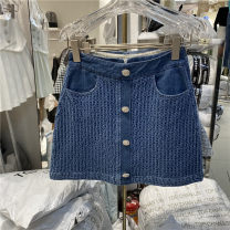 skirt Spring 2021 S,M,L blue Short skirt commute High waist A-line skirt Solid color Type A 25-29 years old Denim cotton Button