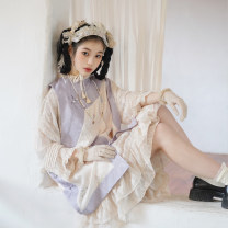 Hanfu 96% and above Spring 2021 Beige (inside) Hibiscus (outside) S M L polyester fiber