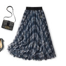 skirt Winter 2020 S,M,L navy blue Mid length dress commute Natural waist Pleated skirt other Type A T030802S More than 95% other Touch miss polyester fiber Mesh, stitching, lace, sequins Retro