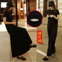 Home skirt Yunjia black M reference weight 118-135, l reference weight 135-155, XL reference weight 155-175, XXL reference weight 175-195 Short sleeve summer Crew neck Thin money leisure time Socket Solid color cotton modal  W9106409
