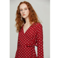 Dress Spring 2021 Retro Red wave point S / spot, M / spot, L / spot Long sleeves V-neck High waist pagoda sleeve 25-29 years old Type X xumooxii More than 95% Chiffon polyester fiber