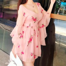 Dress Spring 2021 Picture color S,M,L Middle-skirt singleton  three quarter sleeve Sweet V-neck High waist other zipper A-line skirt routine Others Type A 30% and below other other