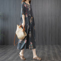 Dress Summer 2021 black Mid length dress singleton  Short sleeve commute Crew neck Loose waist Decor double-breasted routine 35-39 years old Retro Pocket, print 51% (inclusive) - 70% (inclusive) cotton