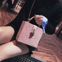 Bag The single shoulder bag PU Small square bag Other / other Brown Pink Black White Blue Silver brand new Japan and South Korea Small leisure time soft Buckle no Solid color Single root One shoulder cross carry nothing youth Vertical square chain Chain handle polyester cotton Cell phone pocket