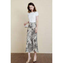 skirt Summer 2021 S,M,L,XL Meters apricot Mid length dress commute High waist CVZ185 More than 95% cvanea silk Zipper, print Simplicity