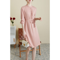 Dress Spring 2021 Gray, mist, Camo, brown S,M,L,XL Mid length dress singleton  Long sleeves commute stand collar Solid color other other routine Type H cvanea Simplicity Fold, ear, stitching, button, belt CVZ115 More than 95% modal