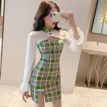 Dress Summer 2020 green S,M,L Short skirt singleton  Long sleeves commute stand collar High waist lattice Socket One pace skirt pagoda sleeve Others Type X Korean version Mesh, stitching 31% (inclusive) - 50% (inclusive) other