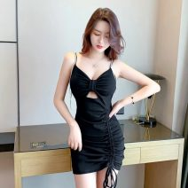 Dress Summer 2021 black S,M,L Miniskirt singleton  Sleeveless commute V-neck High waist Solid color One pace skirt camisole Type H Korean version Tuck, fold, open back