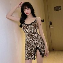 Dress Summer 2021 Leopard Print S,M,L Short skirt singleton  Sleeveless Sweet V-neck High waist Leopard Print One pace skirt camisole Type H Lace, stitching, backless