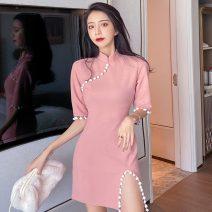 cheongsam Spring 2021 S,M,L Black, leather powder Short sleeve Short cheongsam Retro High slit Straight front Solid color