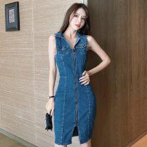 Dress Summer 2021 Denim blue S,M,L,XL Middle-skirt singleton  Sleeveless commute Polo collar High waist Solid color zipper One pace skirt Type H Korean version zipper