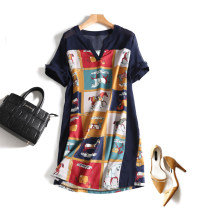 Dress Summer 2020 navy blue 3XL,2XL,XL,L,4XL Middle-skirt singleton  Short sleeve street V-neck Loose waist Animal design Socket other routine Others Type H 51% (inclusive) - 70% (inclusive) Chiffon other Europe and America