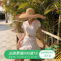 Split swimsuit White, bean paste powder Skirt split swimsuit With chest pad without steel support Nylon, spandex, polyester female V-neck