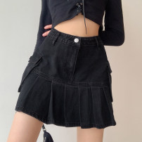 skirt Autumn 2020 S,M,L black Short skirt Versatile High waist A-line skirt Solid color Type A 18-24 years old ROMKD00024 91% (inclusive) - 95% (inclusive) Denim cotton zipper