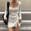 Dress Autumn of 2019 White, black S,M,L Short skirt singleton  Long sleeves Sweet square neck High waist Solid color other 18-24 years old ROD8854W10 81% (inclusive) - 90% (inclusive) polyester fiber