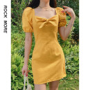 Dress Spring 2021 Yellow, black, blue S,M,L,XL Short skirt singleton  Short sleeve street square neck High waist Solid color Socket puff sleeve 18-24 years old bow ROD0628W0C 91% (inclusive) - 95% (inclusive) cotton