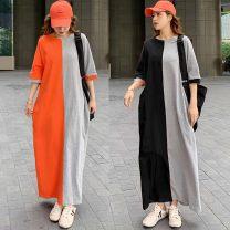 Dress Summer 2021 Orange grey, green grey, black grey S,M,L,XL longuette singleton  Short sleeve commute Crew neck Bat sleeve Type H Korean version 91% (inclusive) - 95% (inclusive) other cotton