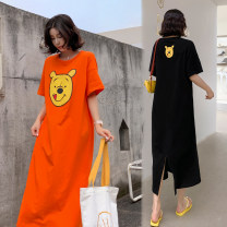 Dress Summer 2021 Orange, black L,XL,2XL,3XL longuette singleton  Short sleeve commute Crew neck Loose waist other Socket other routine Others 18-24 years old Type H Korean version printing 6126# 31% (inclusive) - 50% (inclusive) other cotton