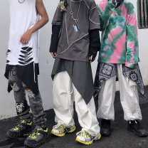 Casual pants grey , black , Bandanna  M,L,XL Autumn 2020 street routine 18-24 years old 96% and above polyester fiber Hip hop Asymmetry