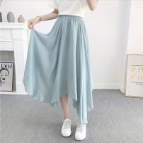 skirt Autumn 2020 Average size Black, white, apricot, blue, light blue, pink Mid length dress Versatile Natural waist Irregular Decor Type A