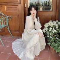 Dress Spring 2021 Apricot flower XS,S,M,L,XL longuette singleton  Long sleeves commute V-neck High waist Broken flowers Socket A-line skirt Princess sleeve Others 18-24 years old Type A printing 81% (inclusive) - 90% (inclusive) Chiffon other