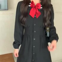 Women's large Autumn 2020 Black skirt + bow S M L XL Dress commute Straight cylinder thick Cardigan Long sleeves Korean version Polo collar have cash less than that is registered in the accounts Three dimensional cutting other 0902-02 Dorkia 31% (inclusive) - 50% (inclusive) Short skirt Other 100%